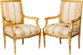Furniture : French, A Pair of Louis XVI-Style Upholstered Giltwood Fauteuils, 19thcentury. 40-1/2 h x 27 w x 23 d inches (102.9 x 68.6 x 58.4 c...(Total: 2 Items)