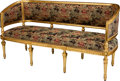 Furniture : French, A Louis XVI-Style Giltwood Canape with Chinoiserie MotifUpholstery, 19th century. 37 h x 72-1/2 w x 26 d inches (94.0 x184...