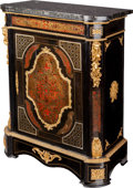 Furniture : French, A Napoleon III-Style Gilt Bronze Mounted Ebonized Wood and BoulleMarquetry Cabinet with Marble Top, late 19th century. 44 h...(Total: 3 Items)
