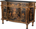 Furniture : French, A Louis XVI-Style Black Lacquer and Partial Gilt Chinoiserie Motif Bombe Commode with Marble Top, 20th century. 36 h x 51-1/...