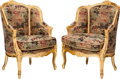 Furniture : French, A Pair of Louis XV-Style Giltwood Bergères with Chinoiserie Motif Upholstery, 20th century. 39-1/2 h x 27-1/2 w x 25-1/2 d i... (Total: 2 Items)