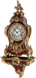 Decorative Arts, French:Other , A Large Louis XIV-Style French Gilt Bronze and Lacquered BracketClock, circa 1870. Marks to mechanism: S Marti & Cie,MED...