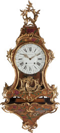 Timepieces:Clocks, A Louis XV-Style Painted and Gilt-Bronze Mounted Bracket Clock with Floral Motif, late 18th-19th century. Marks: CHEVRAU A...