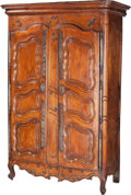 Furniture : French, A French Provincial Walnut Armoire, 18th century and later. 90-1/2h x 58 w x 25 d inches (229.9 x 147.3 x 63.5 cm). PROPE...