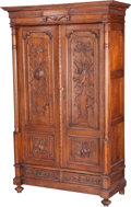 Furniture : French, A French Neoclassical Carved Oak Armoire, late 19th century. 89-1/2h x 55 w x 24 d inches (227.3 x 139.7 x 61.0 cm). PROP...