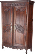 Furniture : French, A French Normandy Region Carved Oak Armoire, late 18th-early 19th century. 89 h x 58 w x 24 d inches (226.1 x 147.3 x 61.0 c...