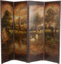 Furniture : French, A French Polychrome Painted Leather Pastoral Four-Panel Screen,19th century. 75 h x 93 w inches (190.5 x 236.2 cm). PROPE...
