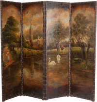 A French Polychrome Painted Leather Pastoral Four-Panel Screen, 19th century 75 h x 93 w inches (190.5 x 236.2 cm)