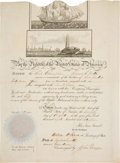 Autographs:U.S. Presidents, Abraham Lincoln: Signed Ship's Paper or Passport in SuperbCondition. ...