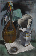 American:Modern, JERRY FARNSWORTH (American 1895-1982). Mandolin and OldMusic. Oil on canvas. 30 x 20 inches (76.2 x 50.8 cm). Signedlo...