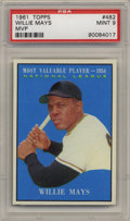 Baseball Cards:Singles (1960-1969), 1961 Topps Willie Mays MVP #482 PSA Mint 9. Say Hey to one of thefinest specimens of this popular issue ever slabbed by PS...