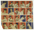 Baseball Cards:Other, 1949 Bowman Baseball Uncut Proof Sheet. Twenty cards are present,with only the card at bottom left showing and loss. A cr...