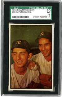 1953 Bowman Color Phil Rizzuto Billy Martin #93 SGC NM+ 86. SGC has only graded three Rizzuto/Martin cards higher than t...