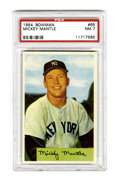 Baseball Cards:Singles (1950-1959), 1954 Bowman Mickey Mantle #65 PSA NM 7. A fantastic color photographic portrait of the Mick issued during his fourth seaso...
