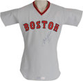 Baseball Collectibles:Uniforms, 1975 Carl Yastrzemski Game Worn Jersey. Pair the Hall of Fame pedigree of this road grey knit with its American League Cham...