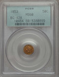 California Fractional Gold , 1853 50C Liberty Round 50 Cents, BG-428, R.3, MS60 PCGS. PCGSPopulation (11/150). NGC Census: (0/59). ...