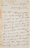 Autographs:Military Figures, David G. Farragut: A Wonderful Content Autograph Letter Signed Re: Victory at Mobile Bay....