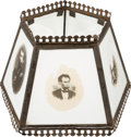 Political:3D & Other Display (pre-1896), Abraham Lincoln et al: Milk Glass Photographic Lamp Shade....