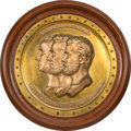 Antiques:Decorative Americana, Lincoln, Grant and Washington: Large Sculptural Roundel Plaque....