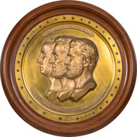 Lincoln, Grant and Washington: Large Sculptural Roundel Plaque