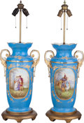 Decorative Arts, French:Lamps & Lighting, A Pair of French Sèvres-Style Painted and Partial Gilt PorcelainVases Mounted as Lamps, late 19th-early 20th century. 24 in...(Total: 2 Items)