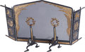 Decorative Arts, Continental:Other , A Five-Piece Partial Gilt Wrought Iron Firescreen and Andiron Suite, circa 1915. 41-1/2 inches high x 50-1/2 inches wide (10... (Total: 2 Items)