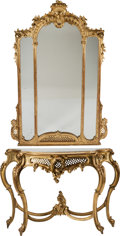 Furniture : Continental, An Italian Rococo-Style Giltwood Console with Marble Top and Mirror, late 19th century. 41 h x 54 w x 19 d inches (104.1 x 1... (Total: 3 Items)