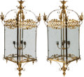 Decorative Arts, British:Lamps & Lighting, A Large Pair of Gilt Bronze and Etched Glass Paneled Lanterns, 20thcentury. 50 h x 19 x 19 inches (127 x 48.3 x 48.3 cm). ... (Total:2 Items)