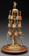 Decorative Arts, British:Other , A Victorian Gilt Metal, Glass and Mahogany Figural Spool Stand,late 19th-early 20th century. 17-1/2 inches high (44.5 cm). ...
