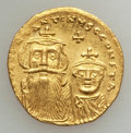 Ancients:Byzantine, Ancients: Constans II & Constantine IV (654-668). AV solidus(4.39 gm). ...
