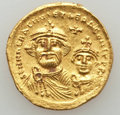 Ancients:Byzantine, Ancients: Heraclius & Heraclius Constantine (613-638). AVsolidus (4.43 gm). Nearly Extremely Fine...