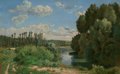 Fine Art - Painting, European:Antique  (Pre 1900), Celestin Deshayes (French, 19th Century). A River Landscape.Oil on canvas. 22-1/2 x 36-1/4 inches (57.2 x 92.1 cm). Sig...