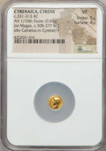 Ancients:Greek, Ancients: CYRENAICA. Cyrene. Ca. 331-313 BC. AV 1/10 stater (0.84gm). NGC VF 5/5 - 4/5....