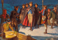 Pulp, Pulp-like, Digests, and Paperback Art, Walter Beach Humphrey (American, 1892-1966). WashingtonEmbarking. Oil on canvas. 25.25 x 36.25 in.. Signed lowerright...