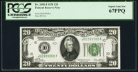 Fr. 2050-J $20 1928 Federal Reserve Note. PCGS Superb Gem New 67PPQ