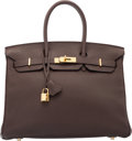Luxury Accessories:Bags, Hermes 35cm Chocolate Togo Leather Birkin Bag with Gold Hardware.N Square, 2010. Very Good to Excellent Condition. ...