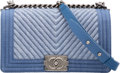 "Luxury Accessories:Bags, Chanel Blue Chevron Quilted Denim Medium Boy Bag with Silver Hardware. Excellent Condition. 10"" Width x 5.5"" Height x ..."