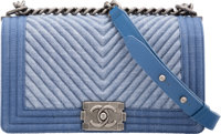"Chanel Blue Chevron Quilted Denim Medium Boy Bag with Silver Hardware Excellent Condition 10"" Wid"