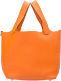 "Luxury Accessories:Bags, Hermes Orange H Clemence Leather Picotin PM Bag with PalladiumHardware. I Square, 2005. Very Good Condition. 7""Width..."