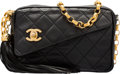 """Luxury Accessories:Bags, Chanel Black Quilted Lambskin Leather Camera Bag with GoldHardware. Very Good Condition. 7"""" Width x 5"""" Height x 3""""Depth..."""