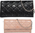 "Luxury Accessories:Bags, Christian Dior Set of Two; Black & Pink Cannage Quilted PatentLeather Evening Bags. Very Good Condition. 8.5"" Widthx... (Total: 2 Items)"
