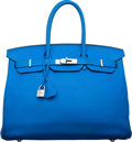 "Luxury Accessories:Bags, Hermes 35cm Blue Hydra Clemence Leather Birkin Bag with PalladiumHardware. P Square, 2012. Very Good Condition. 14"" Width..."