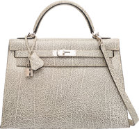 Hermes 32cm White Dalmatian Buffalo Leather Sellier Kelly Bag with Palladium Hardware D Square, 2000 Excelle