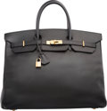"Luxury Accessories:Bags, Hermes 40cm Black Ardennes Leather Birkin Bag with Gold Hardware.C Square, 1999. Very Good Condition. 15.5"" Width x 11"" H..."