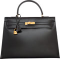 Luxury Accessories:Bags, Hermes 35cm Black Calf Box Leather Sellier Kelly Bag with Gold Hardware. P Circle, 1986. Good to Very Good Condition...