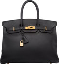 "Luxury Accessories:Bags, Hermes 35cm Black Ardennes Leather Birkin Bag with Gold Hardware.G Square, 2003. Very Good Condition. 14"" Widthx..."