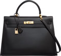 Luxury Accessories:Bags, Hermes 35cm Black Calf Box Leather Sellier Kelly Bag with GoldHardware. A Square, 1997. Very Good to ExcellentCondit...