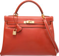 Luxury Accessories:Bags, Hermes 32cm Brick Calf Box Leather Retourne Kelly Bag with GoldHardware. X Circle, 1994. Very Good Condition.12....