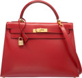Luxury Accessories:Bags, Hermes 32cm Rouge Vif Calf Box Leather Sellier Kelly Bag with GoldHardware. W Circle, 1993. Very Good Condition....