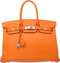 "Luxury Accessories:Bags, Hermes 35cm Orange H Clemence Leather Birkin Bag with Palladium Hardware. F Square, 2002. Very Good Condition. 14""..."